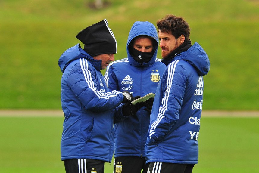 Pablo Aimar with the Argentina coaching staf.