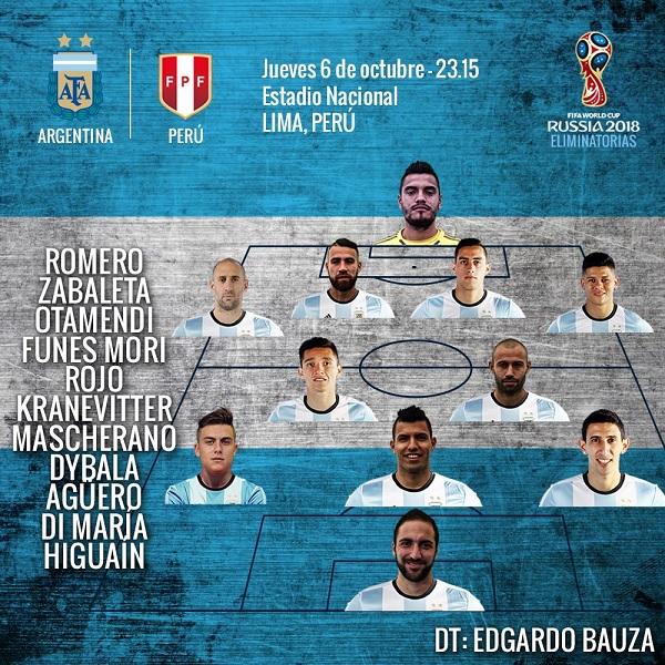 Argentina line-up vs. Peru