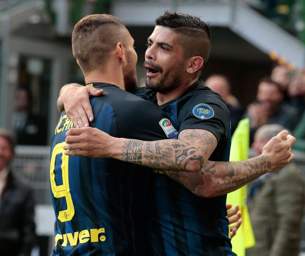 Mauro Icardi and Ever Banega Inter