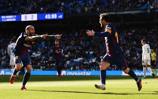 Lionel Messi assists in an El Clasico without a shoe.