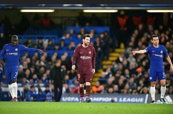 Lionel Messi scores Chelsea but the Blues tried to stop him.