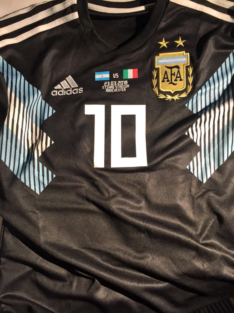 Argentina's away kit against Italy